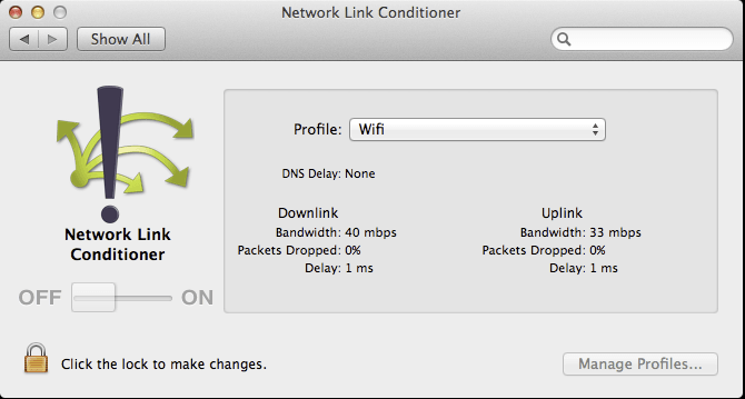 Network Link Conditioner Screenshot